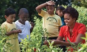Michelle Obama in the vegetable garden