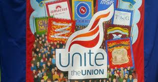 Unite's banner at the Gala